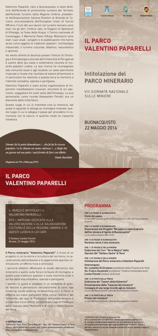 Depliant con programma per Il Parco Valentino Paparelli.