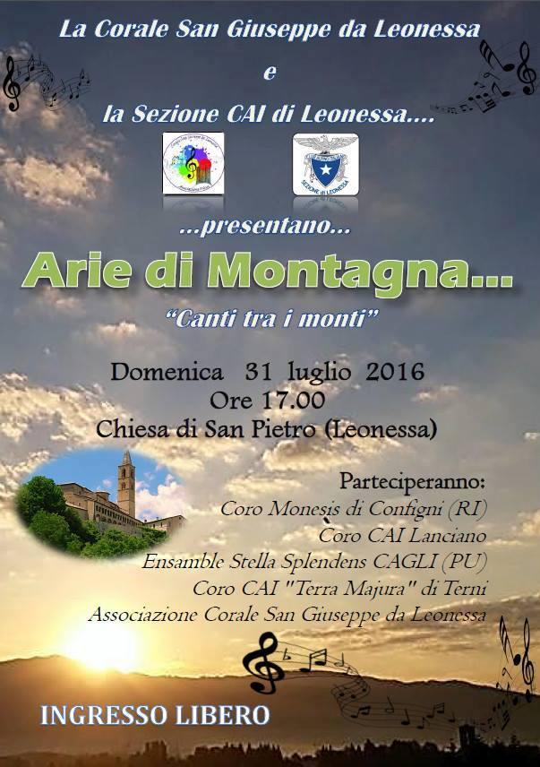 Locandina Arie di Montagna 31/7/2016
