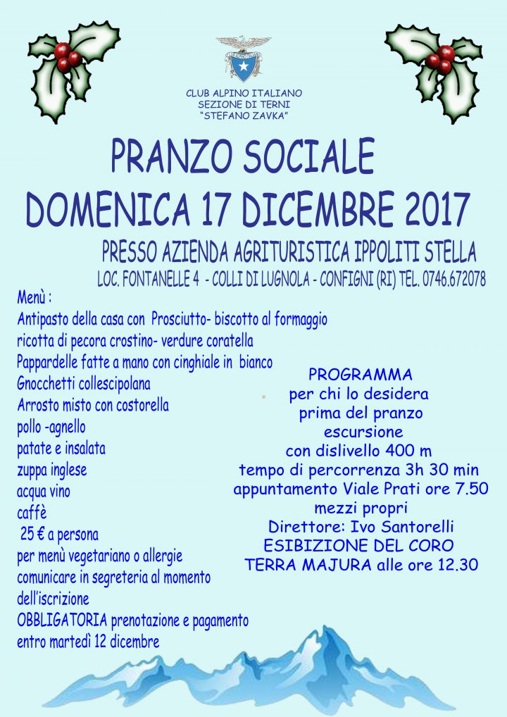 Locandina pranzo sociale CAI Terni 2017