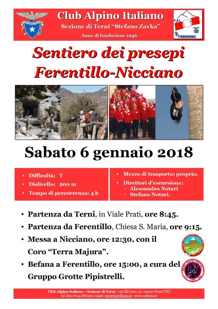Locandina sentiero dei presepi Ferentillo-Nicciano 6 gennaio 2018