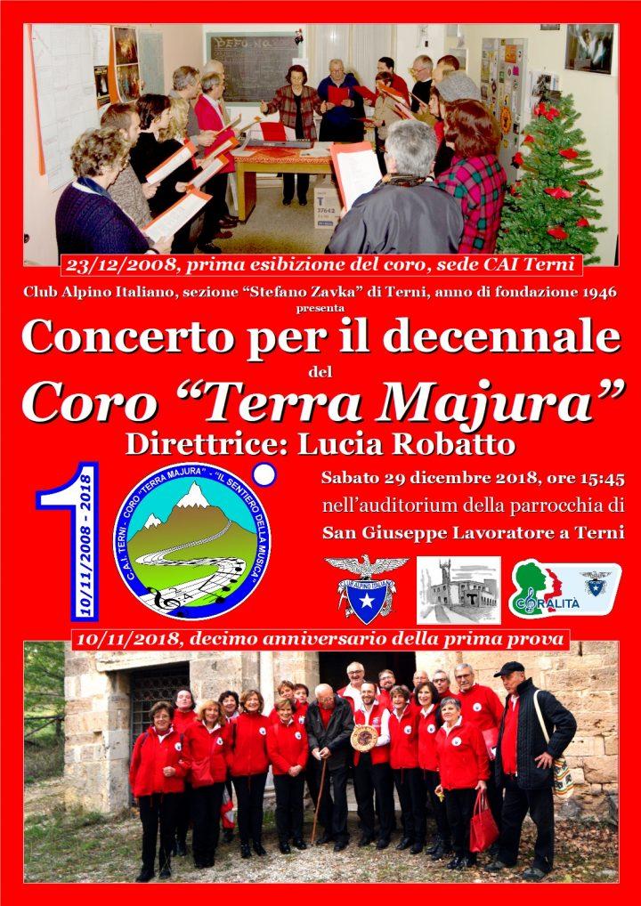 Locandina concerto Decennale coro a San Giuseppe Lavoratore 29 dicembre 2018