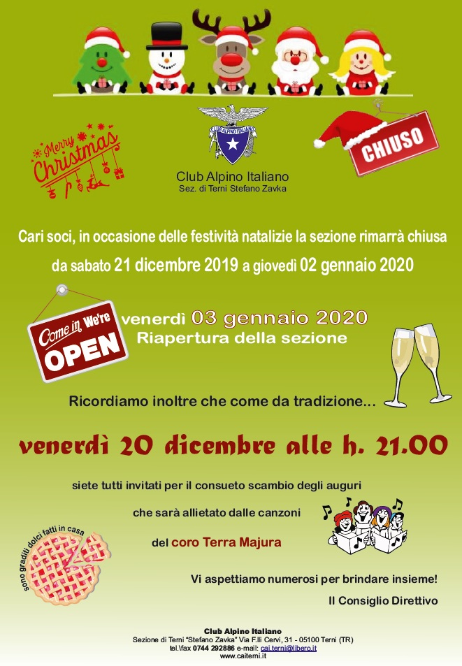 Locandina festa degli auguri 20 dicembre 2019
