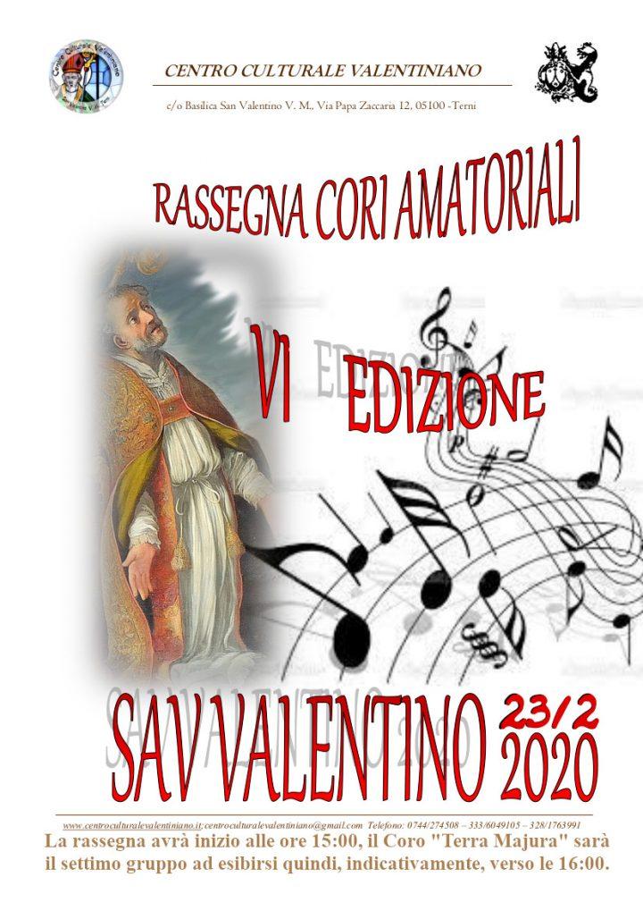 Locandina rassegna cori san valentino 23 febbraio 2020